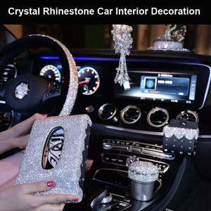 Luxury Diamond Crystal Car Steering Wheel Covers for Girls Women Rhinestone Ashtray Tissue Box Car Interior Decor Accessories(China)