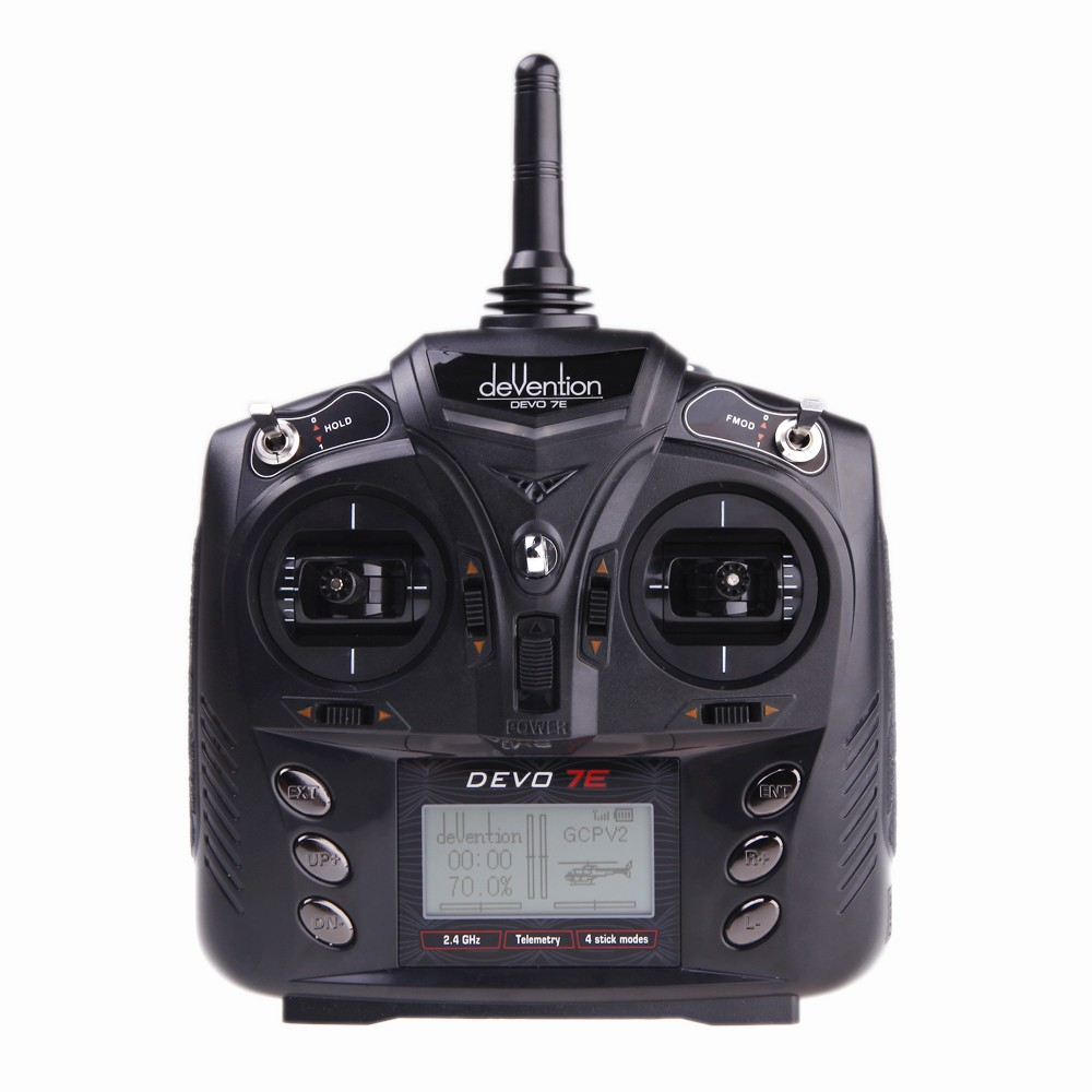 Walkera DEVO 7E 2.4G 7CH DSSS Radio Control Transmitter for RC Helicopter Airplane Model 2 Mode 1 No Receiver niorfnio portable 0 6w fm transmitter mp3 broadcast radio transmitter for car meeting tour guide y4409b