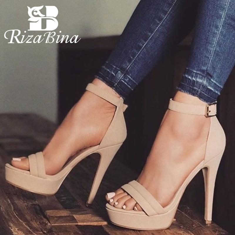 6db235e25 RIZABINA المرأة صنادل عالية الكعب الأزياء مشبك Starp الصيف أحذية النساء حزب  الزفاف أحذية مكتب سيدة