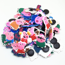 Wholesale 50pcs Random Mixed Pink Pig Shoe Decoration Shoe Charms fit Children Croc shoes Accessories Birthday Party Gifts
