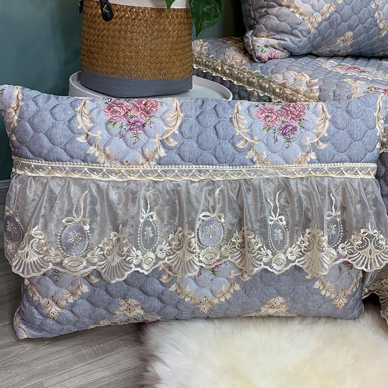 Luxury Gray Green European Style Lace Bedding Set 3pcs Jacquard Bedspread Bed sheet Bed Linen Pillowcases Size Can Be Customized in Bedspread from Home Garden
