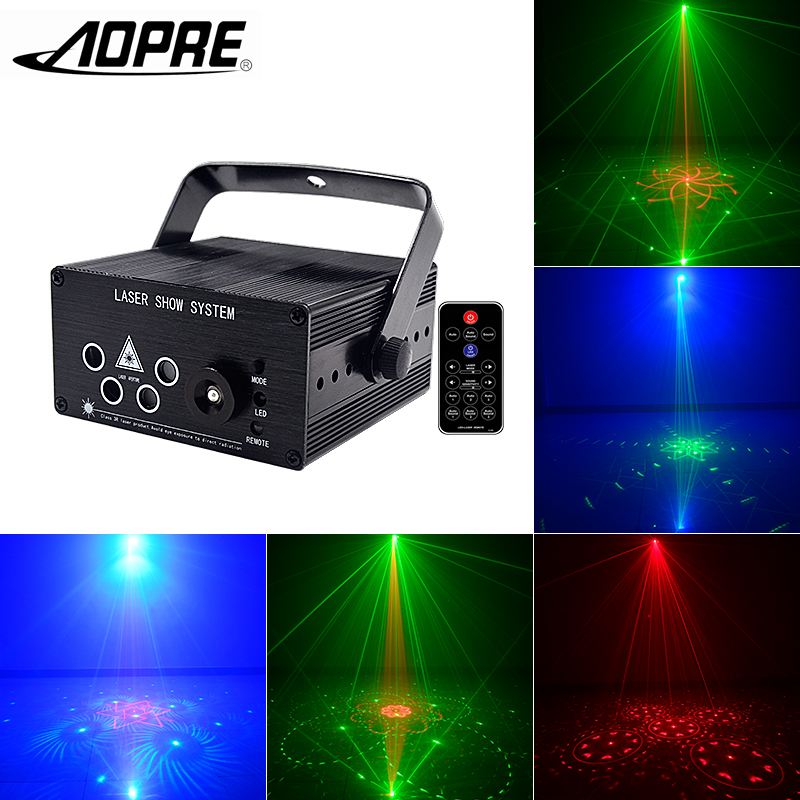 AOPRE Laser Projector Light Mini Stage Lighting Effect Disco Light For DJ Party Home Wedding Disco Club Christmas Decoration rg mini 3 lens 24 patterns led laser projector stage lighting effect 3w blue for dj disco party club laser