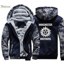 Supernatural Hoodie Men Winchester Brother Hooded Sweatshirt Coat Winter Warm Fleece Thick High Quality Camouflage Jacket Mens