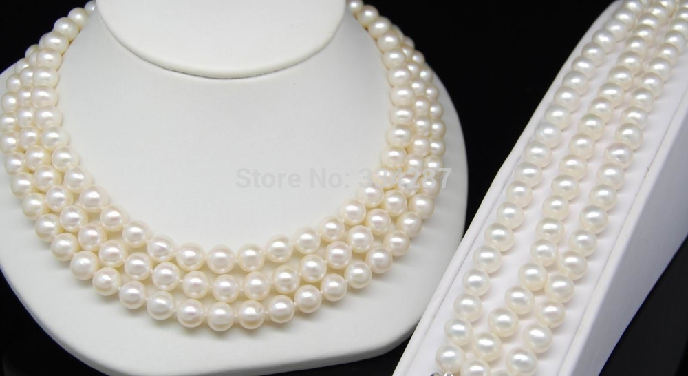 100% image de vente complet Triple brin naturel AAA + Akoya 7-8 MM blanc perle ensembles