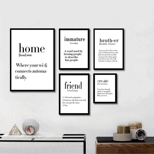 Modern Minimalist Black White Love Home Quotes Art Canvas
