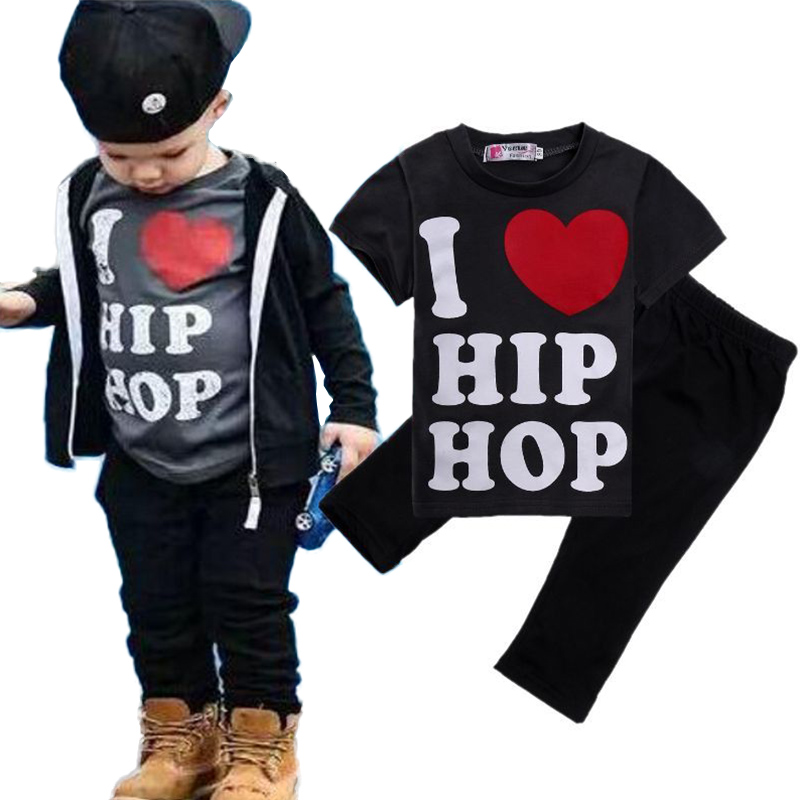 Toddler Kids Boy Casual T-shirt Tops Pants Kids Letters I Love Hip Hop 2pcs Clothing Set Fashion Outfits Sets Clothes 1-6T 2pcs boy kids long sleeve tops pants nightwear sleepwear pajama pyjamas outfits