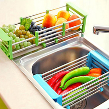 Multifuction Kitchen Sink Drain font b Rack b font 304 Stianless Steel Telescopic Fruit Dish font
