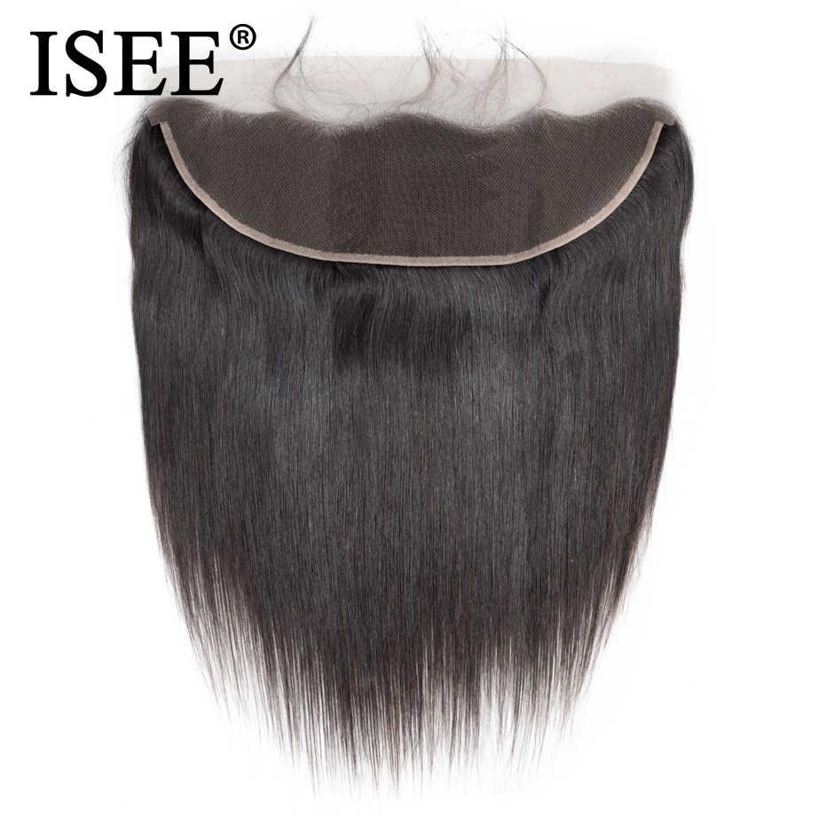 ISEE волосы бразильские прямые Кружева Фронтальная Закрытие 13*4 уха в ухо бесплатная Часть Фронтальная 130% удел remy волосы бесплатная доставка