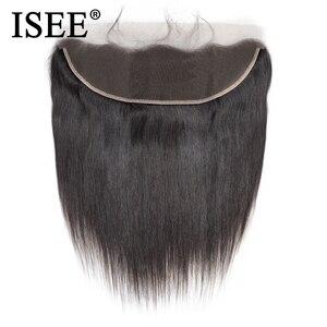 ISEE волосы бразильские прямые кружевные фронтальные закрытие 13*4 уха к уху свободная часть фронтальные 130% Remy волосы бесплатная доставка