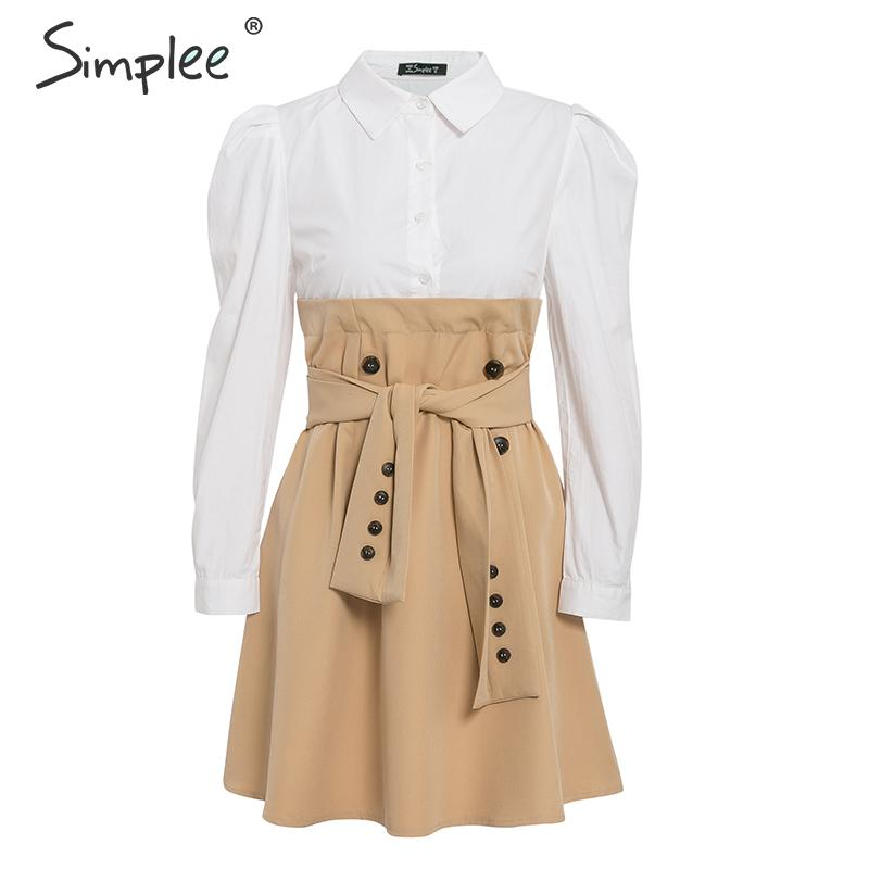 Simplee Patchwork puff sleeve shirt dress women Elegant button sash belt office ladies dresses Autumn ladies khaki work dress 13
