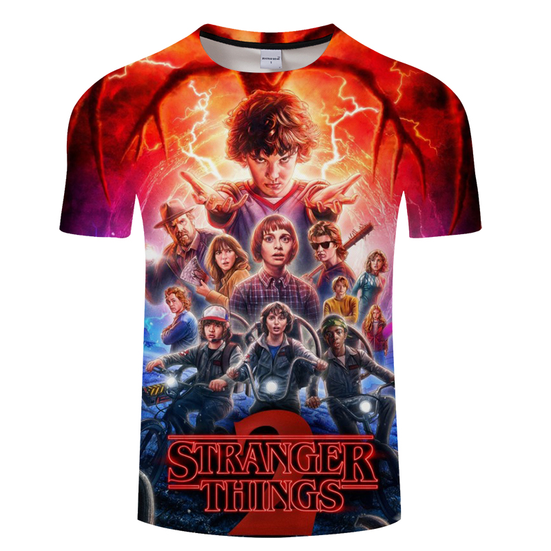 2018 Fashion Stranger Things Print Funny Men   T  -  Shirt   3D Character Design Mens   T     Shirt   Summer Hipster Top Homme Tees Asian size