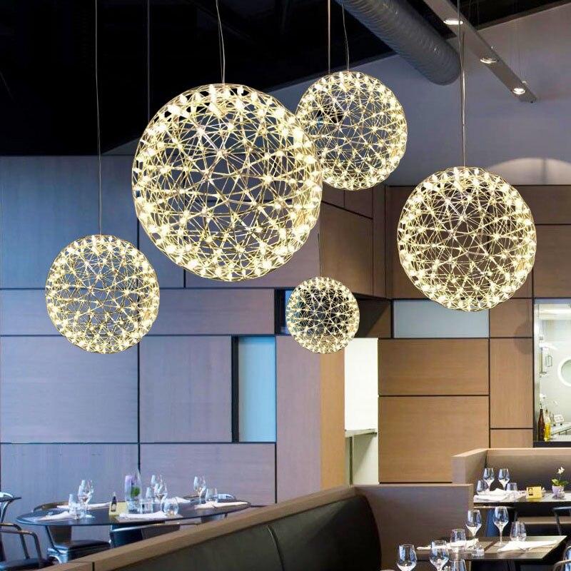 Ручной работы из нержавеющей стали фейерверк подвесной светильник современный кулон освещение вилла отель проект световой мяч Ресторан ди...