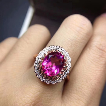 Fashion Elegant round flowers Natural pink topaz gem Ring S925 Silver Natural gemstone Ring Women girl wedding gift Ring Jewelry
