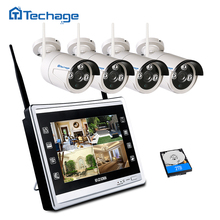Techage 2 in 1 4CH 1080P LCD Monitor Wireless CCTV System 11″ Screen NVR Night Vision Outdoor 2MP IP Wifi Camera HD Security Kit