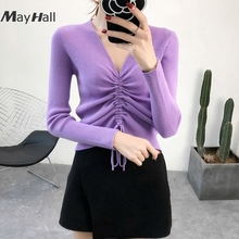 MayHall Autumn Solid Ribbed Knitted Female Sweater Ruched V Neck Long Sleeve Pullover Drawstring Skinny Basic moda coreana MH315