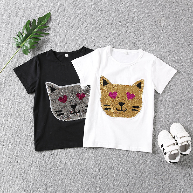 change color girl Fashion Style cat Sequins Girls T shirts ...