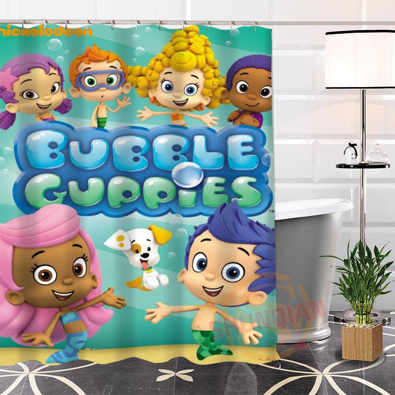 . US  16 0 50  OFF Bubble Guppies Shower Curtains Waterproof Fabric Bathroom  Curtain Custom Shower Curtain For Home Decor in Shower Curtains from Home