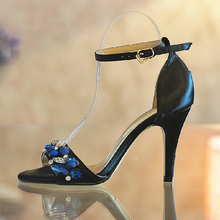 Summer Sexy Dress Sandals Black Stiletto Heels Genuine Leather Bridal Wedding Dress Shoes Bridesmaid Shoes Party Prom High Heels