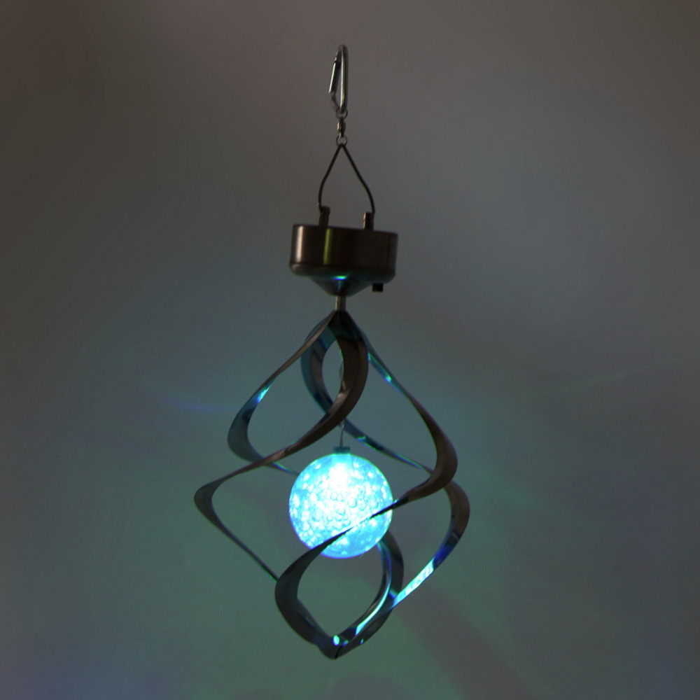 1 PcsNew Color Changing Solar Powered LED Wind Chimes Wind Spinner Outdoor Hanging Spiral Garden Light Courtyard Decoration