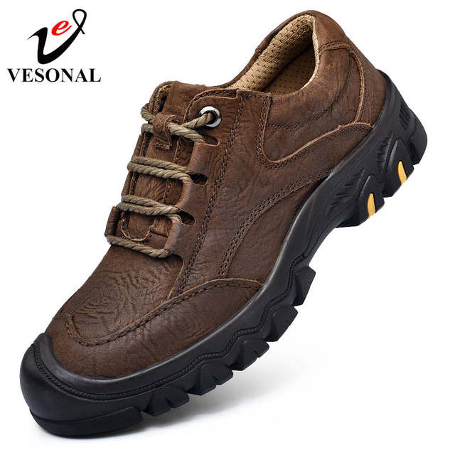 US $44.82 40% OFF|VESONAL 2018 New Casual Work Male Shoes For Men Footwear Adult Genuine Leather Classic Cargo High Quality Safety Sneakers 8195|Men's