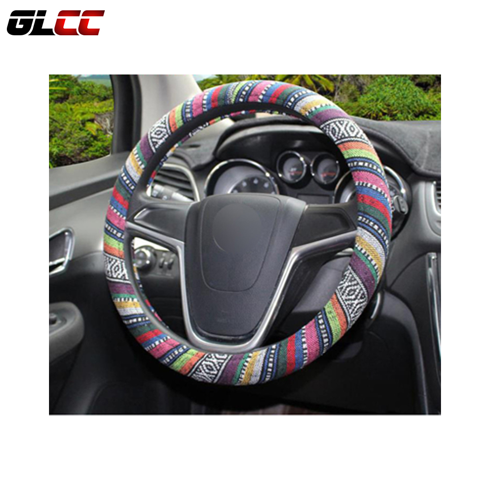Flax National style steering wheel cover universal fit for 38cm/15in car steering wheel cover car styling accessories ice silk 38cm universal car steering wheel cover breathable car styling sport auto steering wheel covers automotive accessories