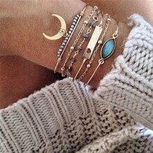 цена на BUTEELUVV Multilayered Gold Bracelets for Women Bohemian Gypsy Ethnic Gold Moon Bead Chain Blue Faux Stone Charm Bracelets Set