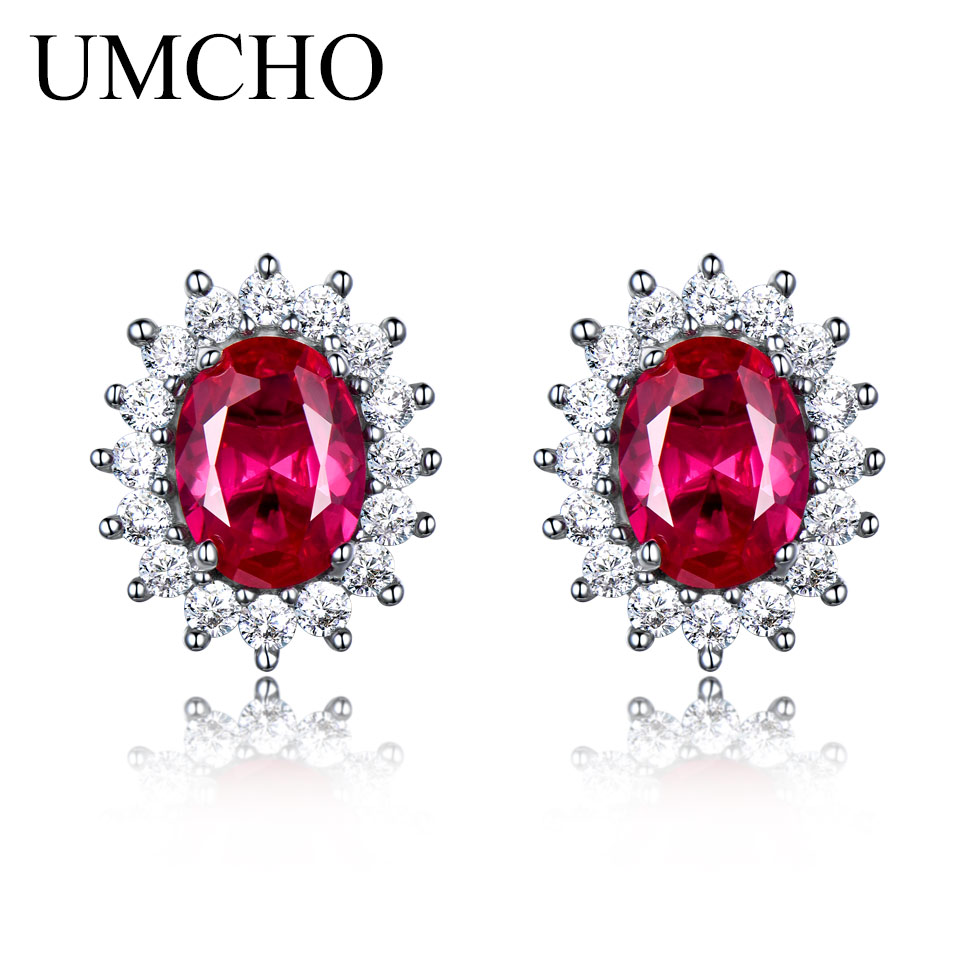 UMCHO Mewah 925 sterling silver earrings Dibuat Ruby Stud Earrings Wanita Bridal Wedding Party Jewelry Merek Perhiasan