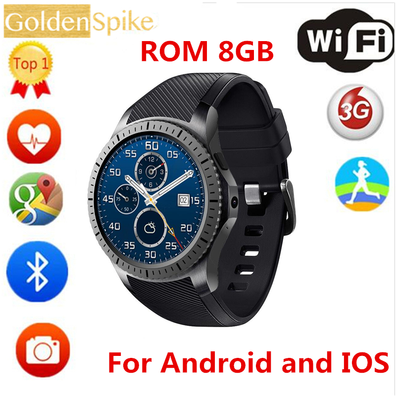 For samsung gear s3 Smartwatch 512M+8G MTK6580 Quad Core GPS\WIFI\BT Heart Rate Android 5.1 2.0 MP for IOS&Android phone watch