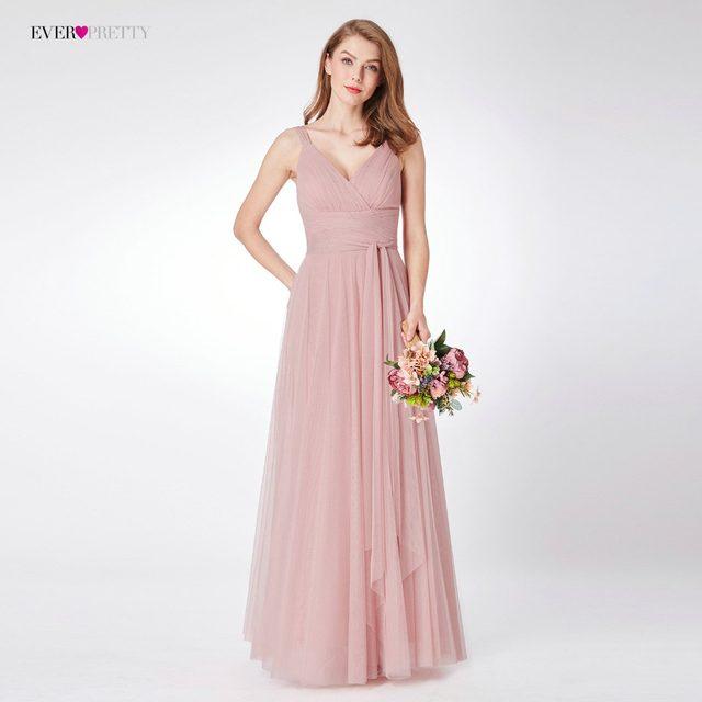Blush Pink Bridesmaid Dresses Ever Pretty EP07303 Sweetheart A-line V-neck  Sleeveless Wedding Party Dress Elegant for Women 78859eaa3f39
