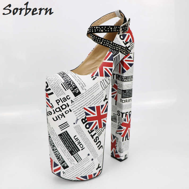 Sorbern Flag Cross Strap Women Pumps Chunky High <font><b>Heels</b></font> Over <font><b>30Cm</b></font> Custom <font><b>Heel</b></font> Shoe Show Display Fetish <font><b>Heel</b></font> Pumps Platform <font><b>Heels</b></font> image