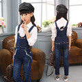 2017 New Children Solid Denim Overalls Top Quality Girls Infantil Jumpsuits Fashion Soft Pants for Kids Girls Denim Overalls