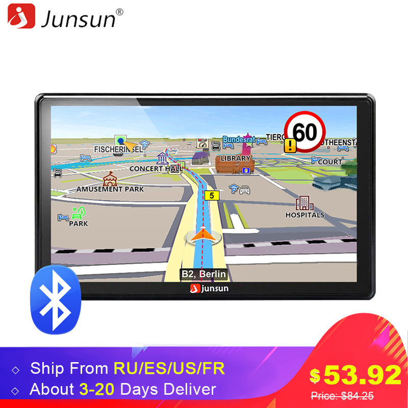 Junsun 7 inch HD Car GPS Navigation FM Bluetooth AVIN Map Free Upgrade Navitel Europe