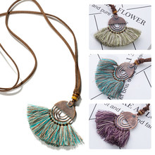 Vintage fabric tassel long sweater chain bohemian boho ethnic pendant necklace choker for women clothing jewelry accessories(China)
