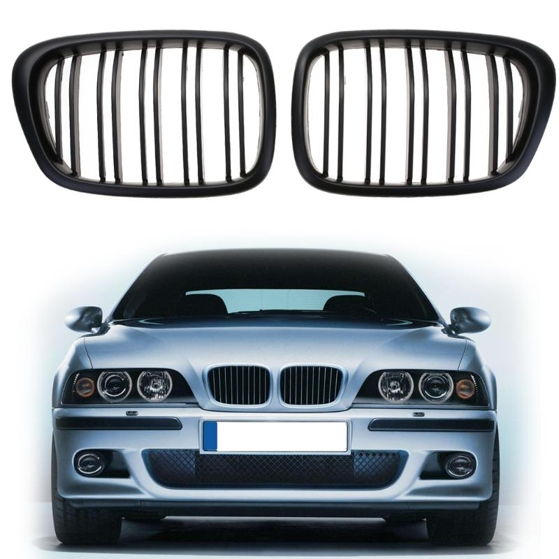 1 Pair Front Kidney Grille for BMW E39 5 Series Car Racing Grille Black High Quality Car Accessories Front Kidney Grille New sugeryy 1 pair car style matte black 3 color front center kidney racing grilles for bmw 3 series e90 e91 2009 2011 car grille
