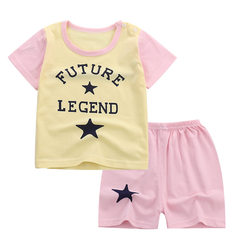 Childrens cotton tracksuit for girls short-sleeved suit Two-piece summer girl children clothing toddler girls summer cloth 20# ...