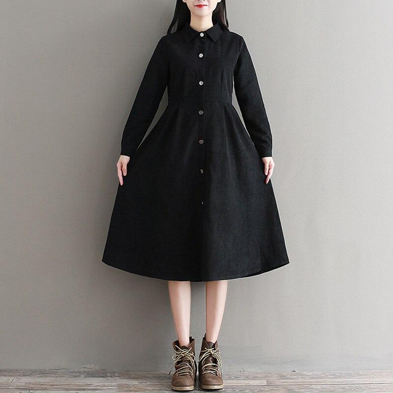 Herbst Winter Schwarz Kleid Frauen Drehen-unten Kragen Cord Langarm Elegante A-linie Kleider Damen 2019 Neue Mode Kleidung