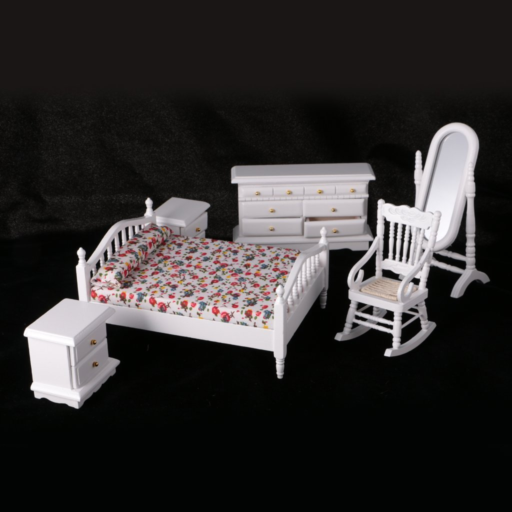 1 12 dollhouse miniature white wooden bedroom furniture - White country style bedroom furniture ...