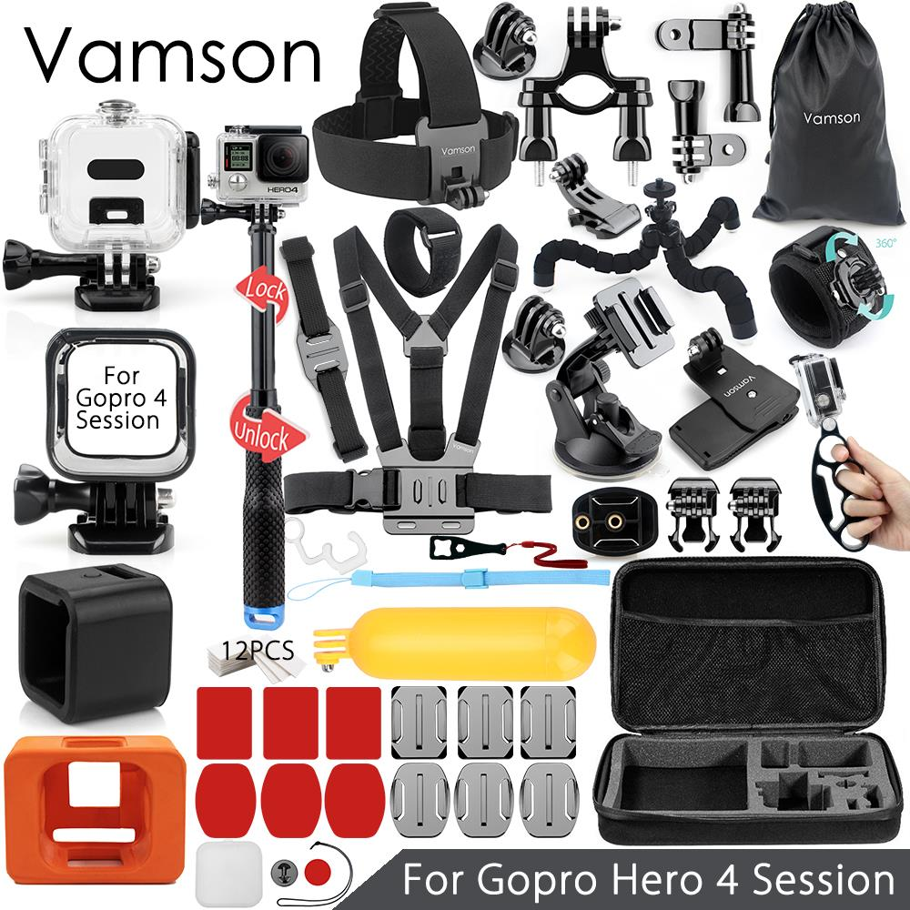 Vamson for Gopro Hero 4 Session Accessories Set Super Kit Monopod Chest Strap for Go pro hero 4 Session Action Camera VS14 beaded blings appliques lace baby girl white ivory first communion dresses christening gown baptism dress