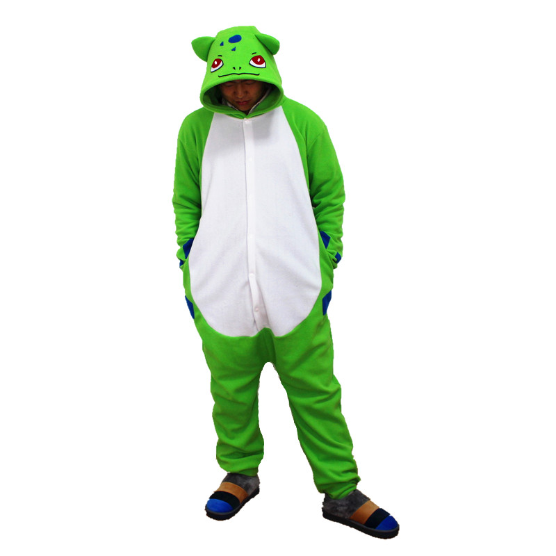 Bulbasaur Kigurumi Pokemon Cosplay Costume Adults Polar Fleece Cartoon Onesies Pajama Halloween Carnival Party Jumpsuit