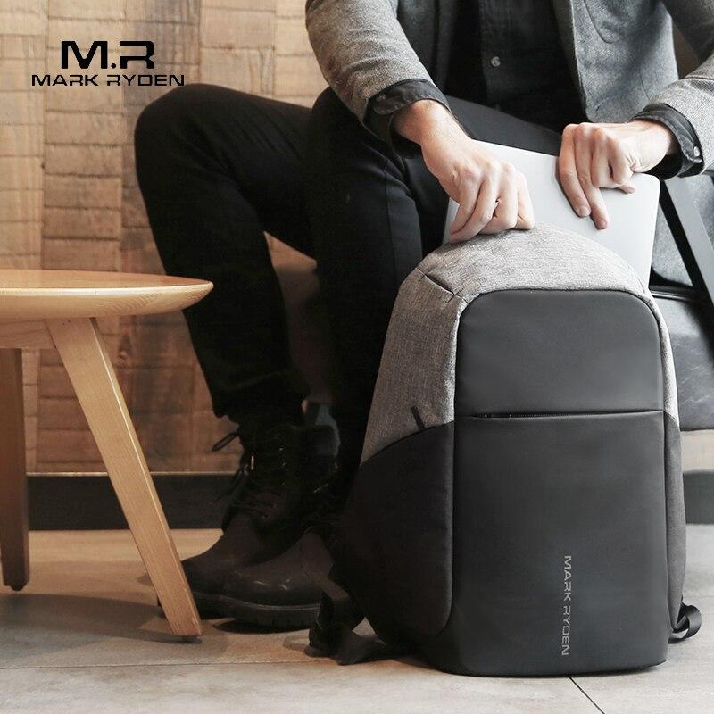 Image 2 - Mark Ryden, многофункциональные мужские рюкзаки с USB зарядкой, 15 дюймов, для ноутбука, для подростка, модный мужской рюкзак для путешествий Mochila, анти вор-in Рюкзаки from Багаж и сумки