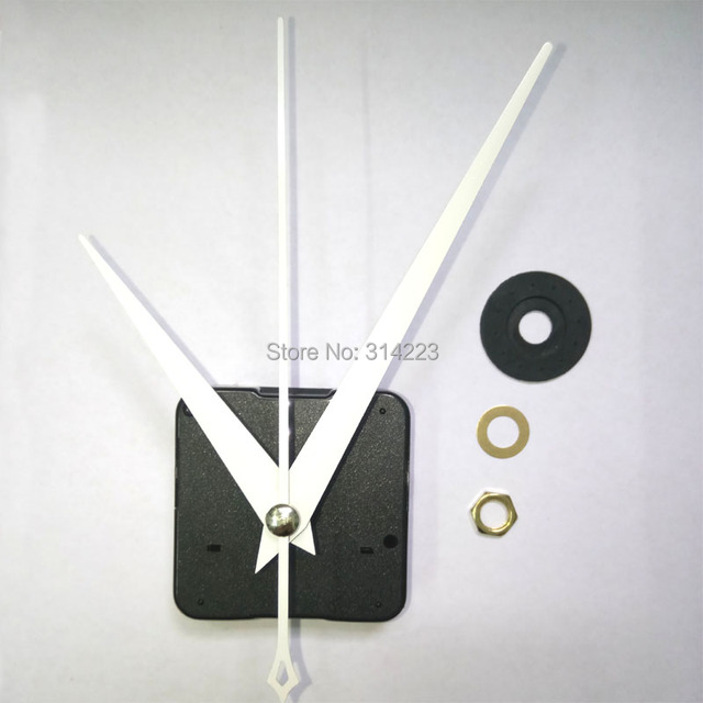 Wholesale 100set New Quartz Clock Movement for Clock Mechanism Repair DIY clock parts accessories shaft 16.5mm white needle