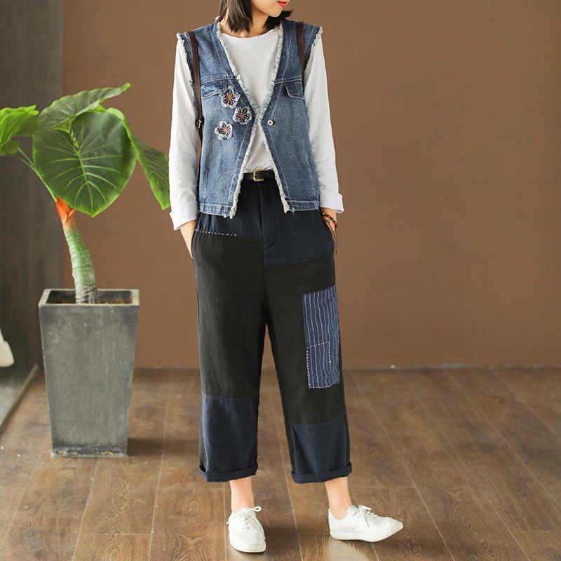 Весенний жилет, модная женская Свободная Повседневная джинсовая куртка, топы, кардиган, пуговица, v-образный вырез, вышивка, пэчворк, новый жилет, пальто 2019