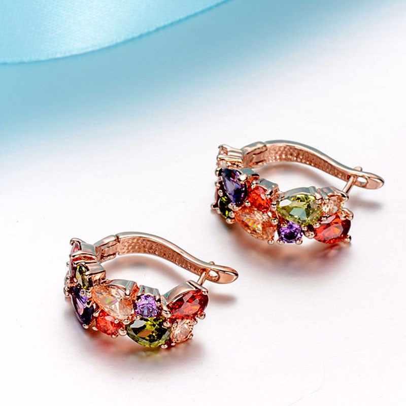 CARSINEL Luxus Rose Gold farbe Mona Lisa Ohrstecker Für Frauen mit Bunten Zirkon Kristall Hochzeit Schmuck Ohrringe
