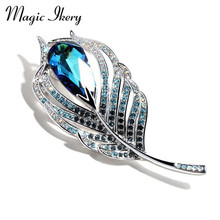 Magic Ikery White Gold Color Crystal Luxury Leaf Brooches Wholesales Fashion Jewelry For Women MKY724