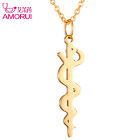 Fashion 18K Rose Gold Gold Silver Medical Symbol Necklace Women Jewelry Snake Necklaces For Nurse Doctor