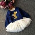 Azul marino niñas chidlren vestido de dibujos animados y niños tutu vestido de invierno ropa de las muchachas niños ropa de alta calidad