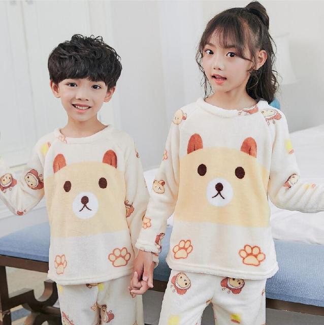5f9dda2370 Children s Long Sleeved Pajamas Set Cartoon Girls Boys Autumn Winter Warm  Flannel Home Wear Kids Coral Velvet Sleepwear Suit MTU