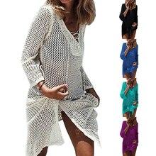 Модная женская пляжная одежда для прогулок, трикотажный халат с v-образным вырезом, полый, для конфет, цвет, кафтан, платье, парео, бикини, саронг, купальник
