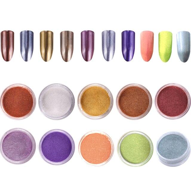 Polvo de espejo mágico de oro rosa 10 tarros/juego de decoración de uñas brillo de polvo pigmentos de uñas manicura Mica pigmento en polvo ¡10 colores