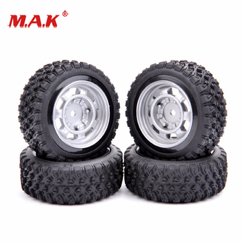 4Pcs/Set 1:10 Scale Rally Tires&Wheel Rim with 6mm Offset and 12mm Hex fit Rally Rubber RC Racing Car Model Parts image